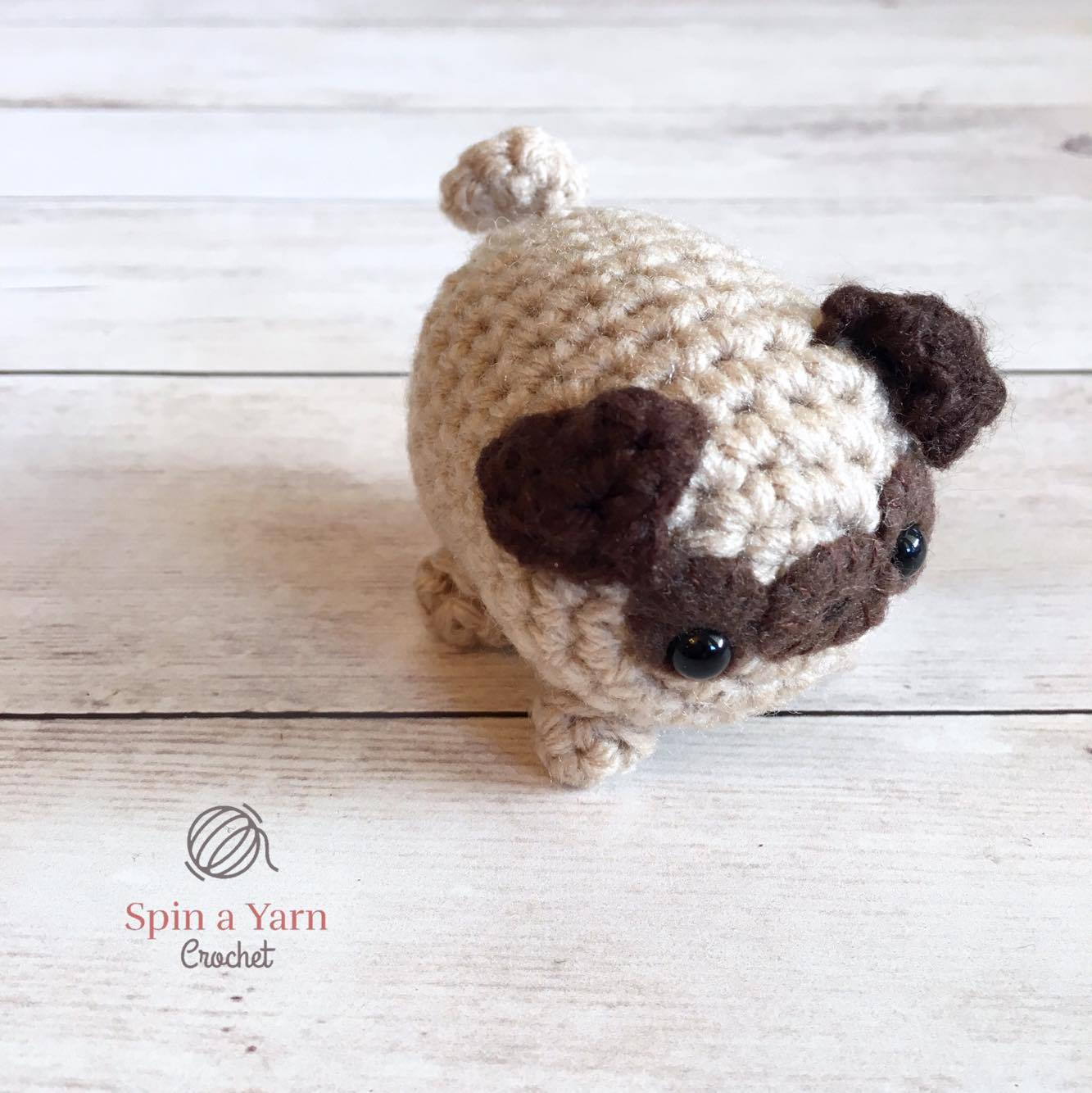 Crochet pug dog pattern pdf, miniature animal crochet instructions ... | 1334x1333