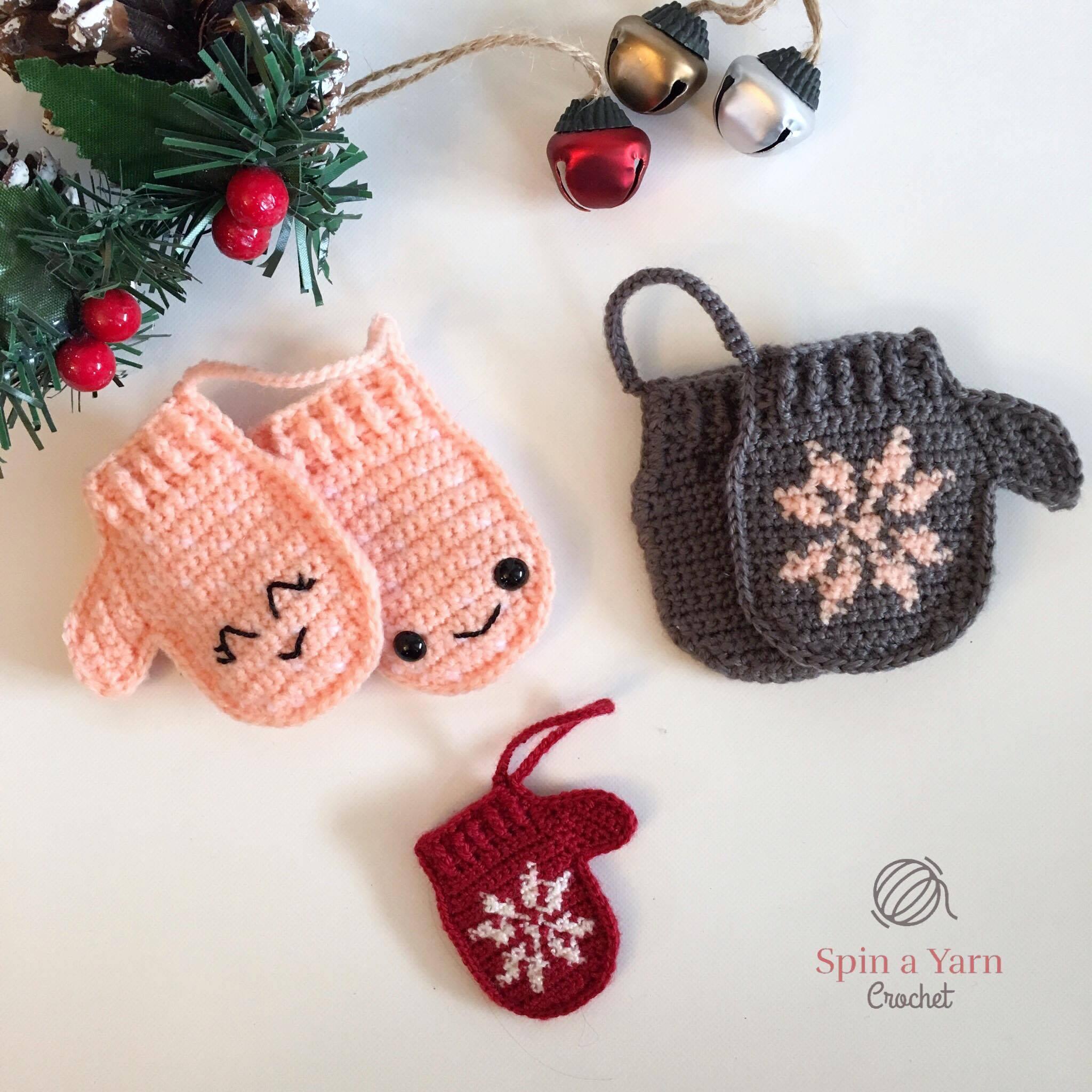 Mittens Ornament Free Crochet Pattern Spin A Yarn Crochet