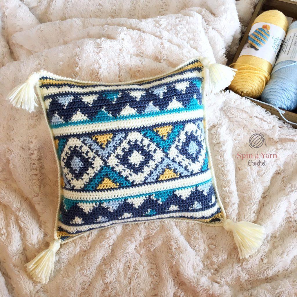 Aztec Throw Pillow Free Crochet Pattern Spin A Yarn Crochet